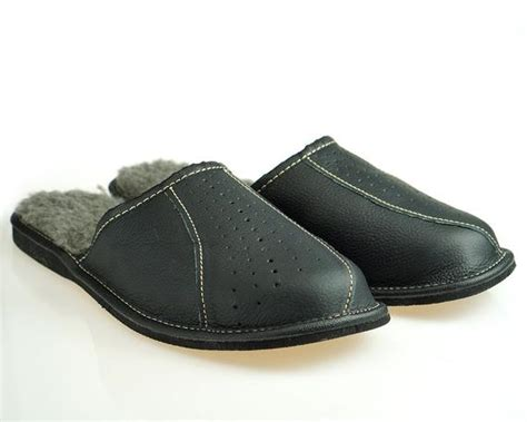 Mens Leather Slippers 100% Wool Slippers Moccasins Men