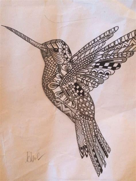 zentangle hummingbird  designed patterns creations