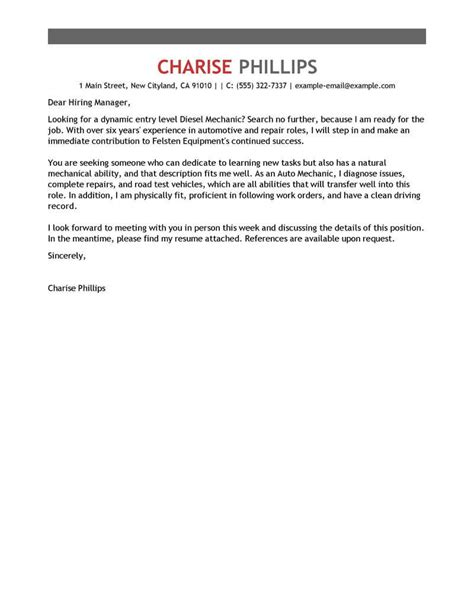 outstanding entry level mechanic cover letter examples