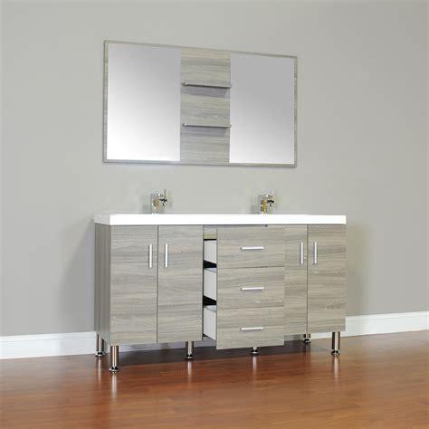 alya    double modern bathroom vanity gray