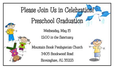 preschool graduation mountain brook presbyterian preschool 270 | grad invite web