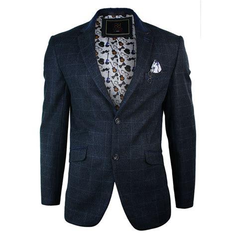 navy blue casual dress cavani check herringbone tweed slim fit blazer navy