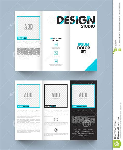 trifold template school empty stylish trifold or brochure design stock illustration