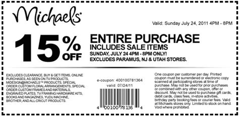 Michaels Arts And Craft Store Printable Coupons