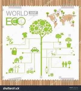 Infographic  Tree  Diagram  Go Green Concept  World Map