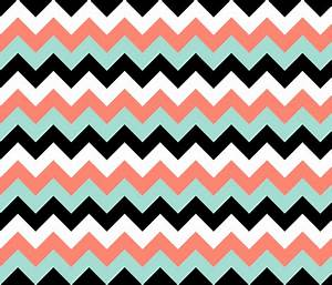 Chevron in Coral, Mint, Black and White wallpaper ...