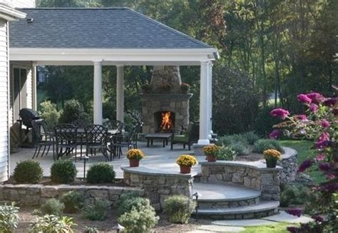 patio designs  outdoor fireplaces bricks  stones