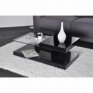 Table Basse Noire Design : stand table basse noire laqu e plateau rotatif achat vente table basse stand table basse ~ Carolinahurricanesstore.com Idées de Décoration