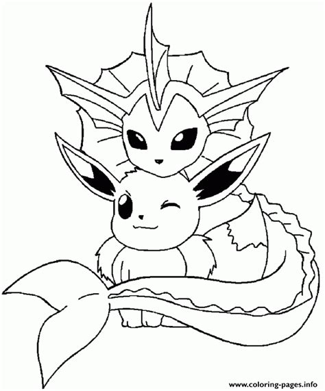 vaporeon lineart eevee coloring pages pokemon