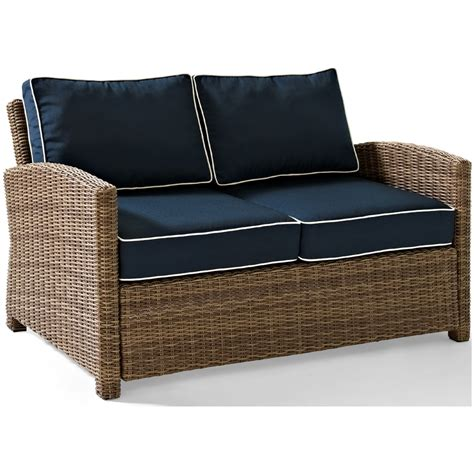 Outdoor Wicker Loveseat by Crosley Biltmore Outdoor Wicker Loveseat With Cushions