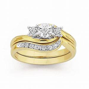 9ct gold diamond trilogy bridal ring set prouds the With 9ct gold wedding ring sets