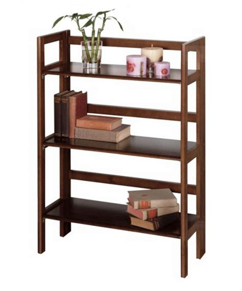 3 Shelf Stackable Folding Bookcase  Walnut  Bookcases At