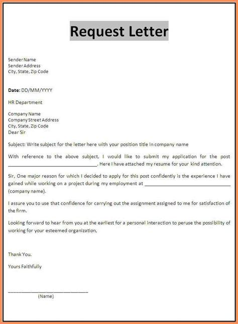 letter of application format presentation request template