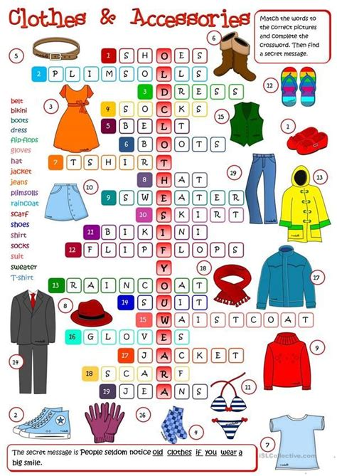 clothes  accessories crossword    images