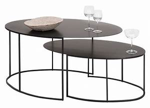 Table Salon Gigogne : slim irony coffee table set 2 ovale tables h 42 29 cm coppered black by zeus ~ Dallasstarsshop.com Idées de Décoration