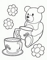 Coloring Tea Party Pages Printable Teddy Colouring Picnic Bear Princess Bears Template Birthday Teaparty Parties Clipart Coloringhome Popular Site sketch template