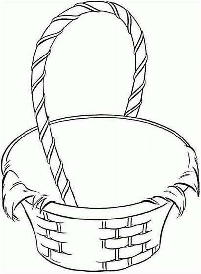 Basket Coloring Fruit Empty Easter Pages Clipart