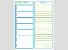 Meal Planner With Grocery List grocery list template