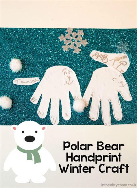 polar bear handprint winter craft   playroom