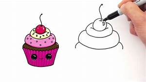 How to Draw a CUTE Cupcake 1 step by step Easy Sweet ...
