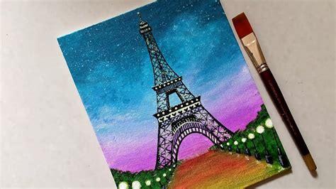 easy eiffel tower scenery drawing painting  beginners