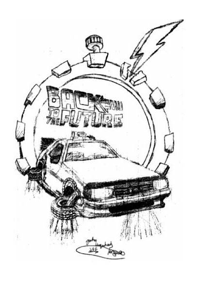 Drawing Future Delorean Coloring Pages Hand Dmc