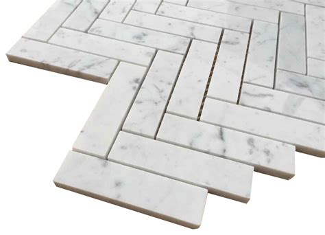carrara bianco polished 1x4 herringbone marble mosaic tile