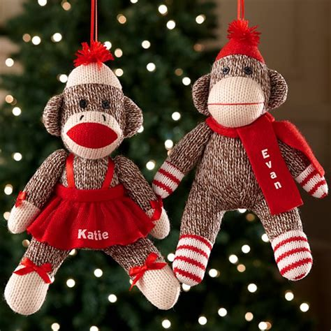personalized sock monkeys at personal creations - Monkey Christmas Ornament