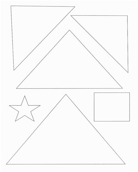 Triangle Template For Kid Craft by Christmas Tree Template With Shapes Star Square