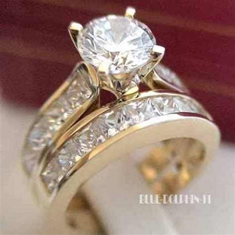 wedding ring sets 9ct gold genuine solid 9ct yellow gold engagement wedding 2 rings simulated diamonds ebay