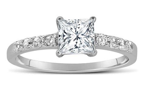 1 Carat Princess Cut Diamond Engagement Ring In 10k White