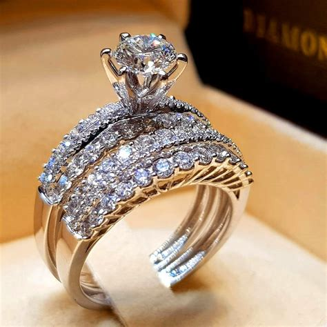 cute crystal white zircon stone ring luxury 925 silver engagement ring vintage bridal