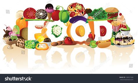word for cuisine word food spelled by pile foods stock illustration