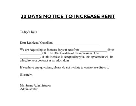 30 day notice of rent increase form letter to increase rent letter from landlord to tenant