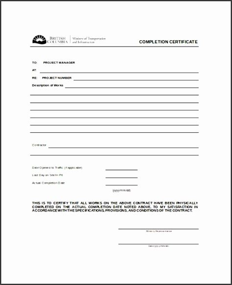 form letter exle 6 certificate of project completion template 21766