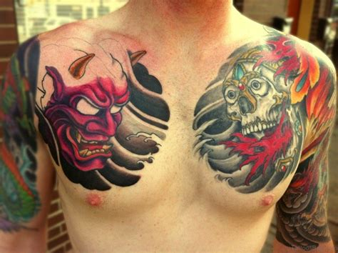 classic mask tattoos  chest