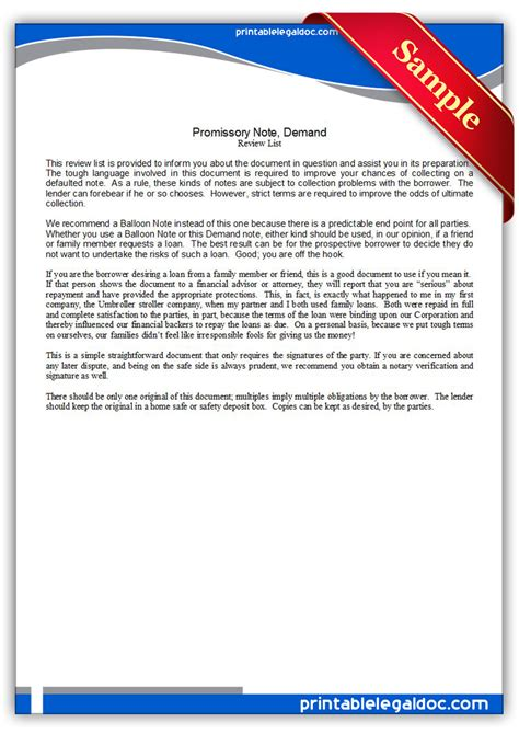 Free Printable Promissory Note, Demand Form (generic