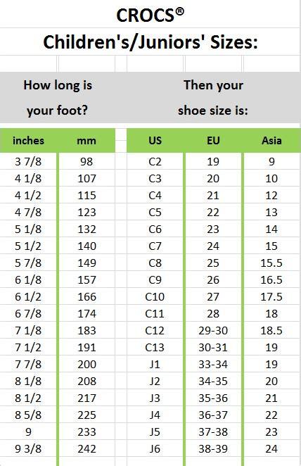 Crocs Shoe Size Chart