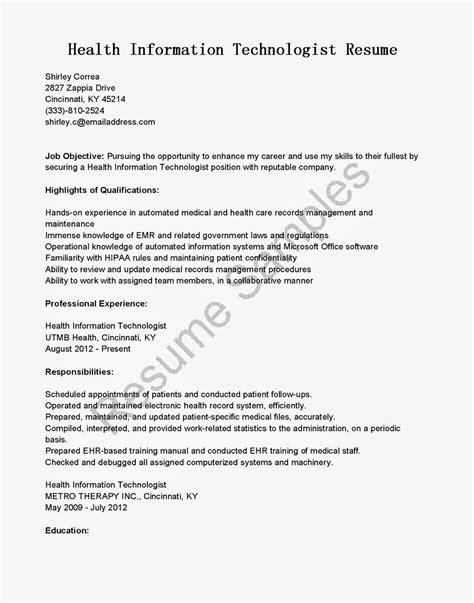 resume objective for health information technology resume sles health information technologist resume sle