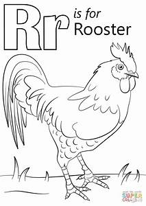 Letter R Is For Rooster Coloring Page
