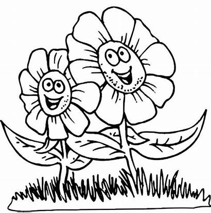 Coloring Spring Flowers Flower Pages Cartoon Happy