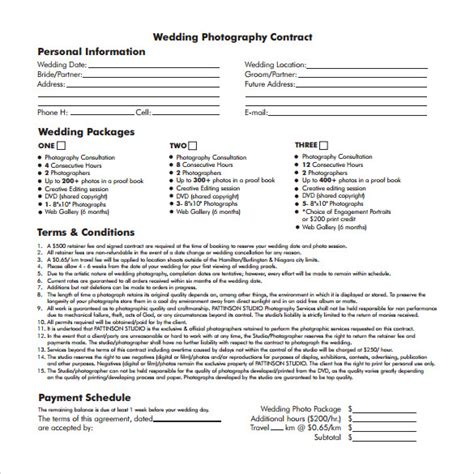 wedding contract template   documents