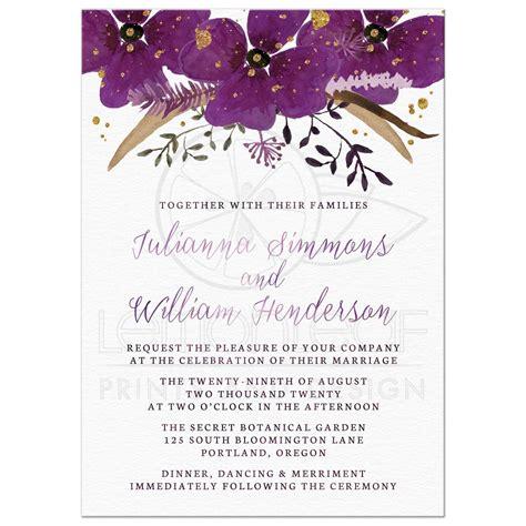 wedding invitations pretty watercolor violet flowers