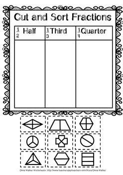 fraction worksheets   quarter kindergarten