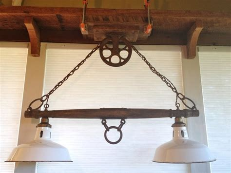 rustic yoke l with pulley rustic lighting