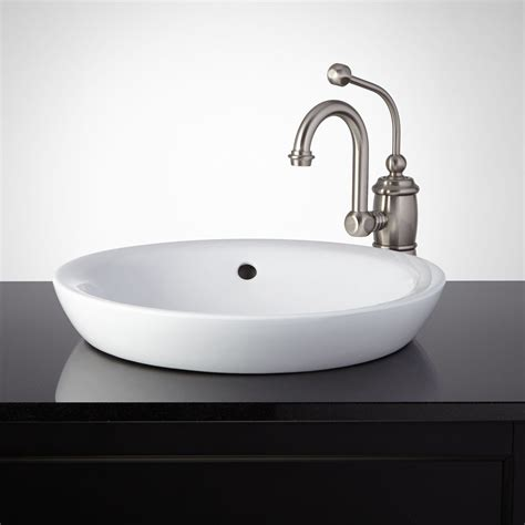 Bathroom Basin Sink by Milforde Porcelain Semi Recessed Sink Semi Recessed