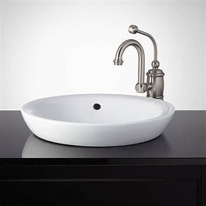 milforde porcelain semi recessed sink semi recessed With bathroom lavatories