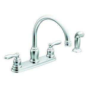moen caldwell 2 handle high arc sink counter mount traditional kitchen faucet side spray