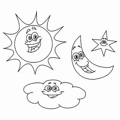 Moon Coloring Sun Stars Pages Cloud Printable