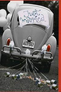Hochzeitskarte, Mit, Auto, Und, Blechdosen, Just, Married